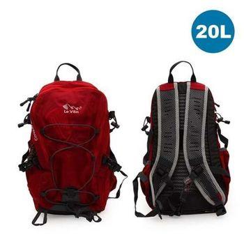 【LeVon】20L休閒透氣背包- 雙肩包 後背包 紅灰