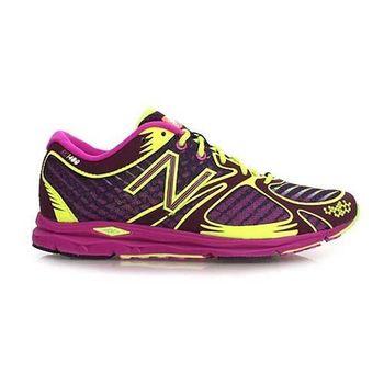 【NEWBALANCE】女競賽跑鞋- 慢跑 路跑 NB 紫螢光黃