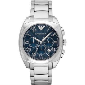 Emporio Armani 羅馬爵士計時腕錶-海軍藍x銀/43mm AR1938