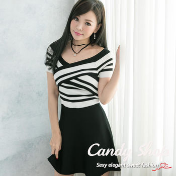 針織條紋配色簡約有型  修飾顯瘦連身洋裝