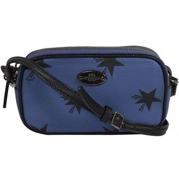 COACH 53428 馬車金屬LOGO防刮星星小巧雙層斜背包.藍/黑