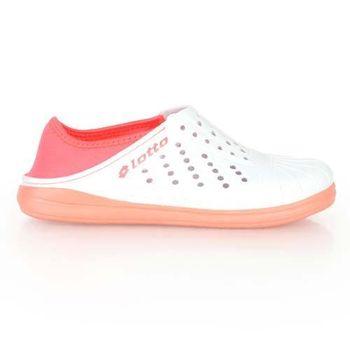 【LOTTO】女洞洞排水拖鞋-懶人鞋 沙灘鞋 粉橘白