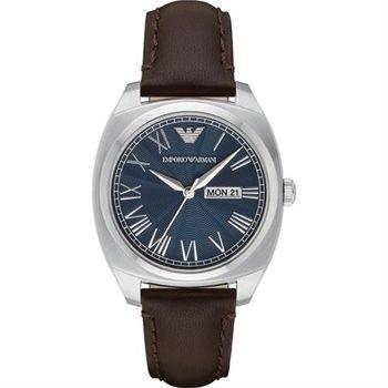 Emporio Armani 羅馬爵士腕錶-藍x咖啡/40mm AR1940