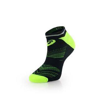 【ASICS】男反光慢跑襪子-短襪 踝襪 路跑 鐵人三項 亞瑟士 螢光綠藍