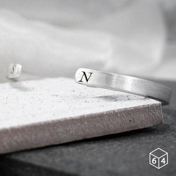 ART64 訂製手環/手鐲  刻字姓名縮寫-B 手環(小) 英文 文字 純銀C型手環