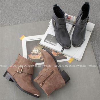 【TOMO】金屬尖頭釦環側拉鍊低跟短靴(K136B1543)