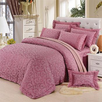 【KOSNEY】 皇室浪漫 特大60支活性精梳棉蕾絲緹花八件式床罩組型