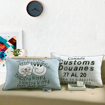 舒適純棉表布壓縮枕(2入)瞌睡貓+英文字-白
