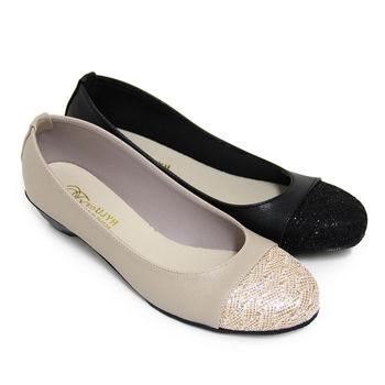 【Pretty】優雅金蔥圓頭低粗跟包鞋-金色、黑色