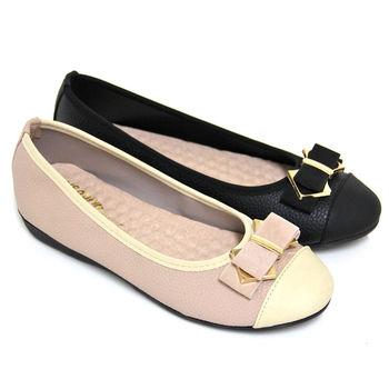 【Pretty】典雅朵結金屬拼接平底娃娃鞋-粉紅色、黑色