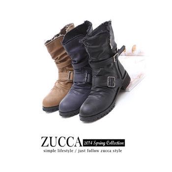 ZUCCA【Z5643】皮扣繞綴短筒低跟工程靴-駝色/灰色