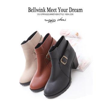 bellwink【B9019】個性皮革金屬低跟踝靴-棕色/白色