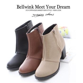 bellwink【B9018】俐落風拉鍊側飾粗跟短靴-駝色/黑色/灰色
