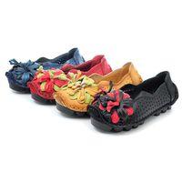 ~ cher美鞋~真皮超軟Q小花透氣舒適鞋~黑色 ^#47 藍色 ^#47 黃色 ^#47