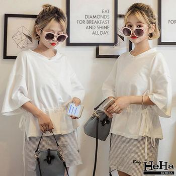 HeHa-寬鬆抽繩收腰五分袖T恤上衣 白色