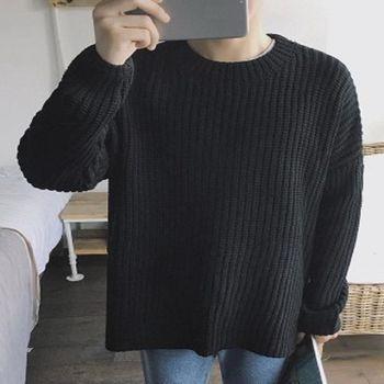 【協貿國際】長袖針織衫韓版時尚圓領套頭毛衣寬鬆衫男單件