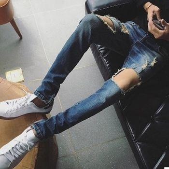 【協貿國際】破洞牛仔褲男士潮流膝蓋褲單件