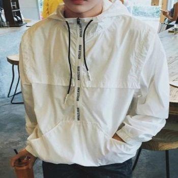 【協貿國際】連帽套頭韓版字母拉鍊裝飾長袖外套單件
