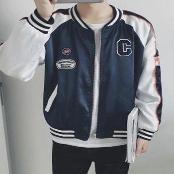 【協貿國際】棒球服男士韓版撞色外套長袖夾克單件