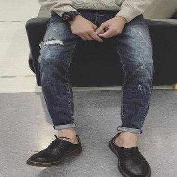 【協貿國際】復古水洗刮破洞牛仔褲男士單件