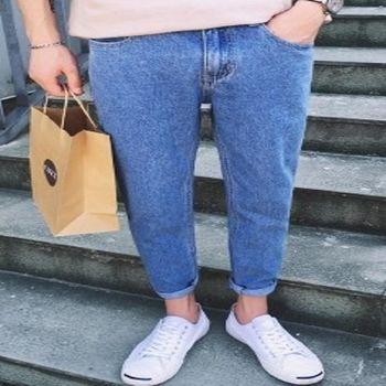 【協貿國際】韓版男長褲純色水洗牛仔褲顯瘦彈力褲單件