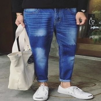 【協貿國際】復古水洗牛仔褲男士韓版單件