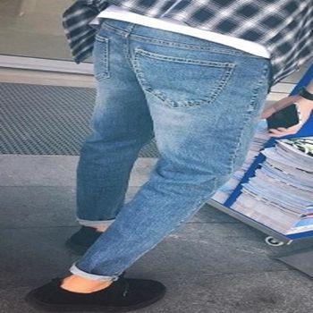 【協貿國際】韓版修身淺色牛仔褲單件