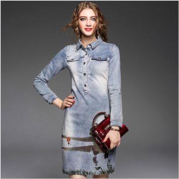 (現貨+預購 RN-girls)-歐美秋裝時尚精品氣質手繪牛仔連身裙