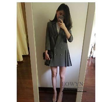韓版時尚百搭顯瘦中長款七分袖百褶下擺小西裝外套灰色/黑色/S/M/L/XL/