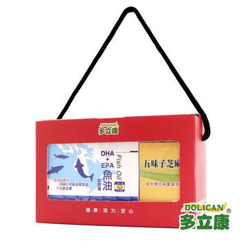 《多立康》神采奕奕禮盒(DHA+EPA魚油軟膠囊五味子芝麻錠)(60粒/盒)