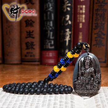 【財神小舖】生肖兔(文殊菩薩)本命佛-天然冰種黑曜石項鍊(優雅)《含開光》