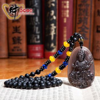 【財神小舖】生肖龍、蛇(普賢菩薩)本命佛-天然冰種黑曜石項鍊(優雅)《含開光》