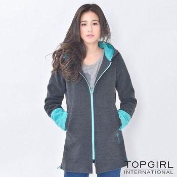 【TOP GIRL】連帽撞色長版外套-共二色