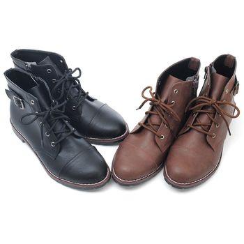 【 cher美鞋】MIT牛津綁帶氣質小短靴♥黑色款/咖啡色♥9989-03