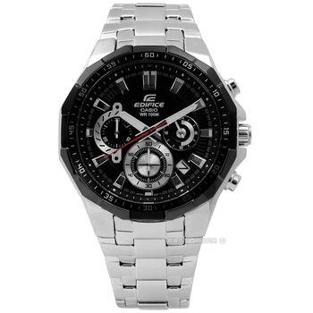EDIFICE CASIO / EFR-554D-1A / 卡西歐立體科技感三環日期不鏽鋼手錶 黑色 44mm