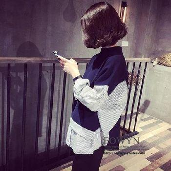 韓國洋氣寬松顯瘦豎條紋拼接立領長袖套頭衛衣女休閑上衣圖片色/均碼