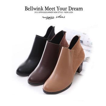 bellwink【B9221】極簡美型V型剪裁拼接踝靴 -駝色/棕色