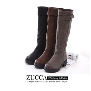 ZUCCA【Z5835】金屬雙扣環拉鍊式低跟靴-黑色/灰色/棕色