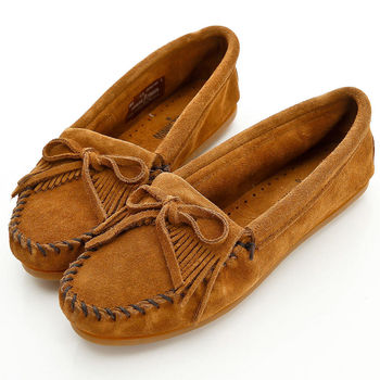 MINNETONKA 棕色麂皮素面莫卡辛 女鞋403