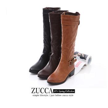 ZUCCA【Z5833】經典風格高跟長筒騎士靴-棕色/黑色/駝色