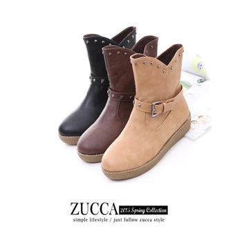 ZUCCA【Z5831】鉚釘勾邊騎士靴口輕便短靴-黑色/棕色/駝色