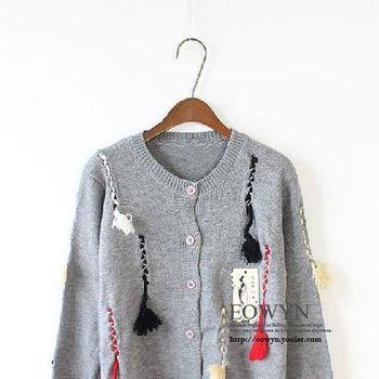韓版毛衣開衫女上衣修身針織衫衣服3色黑色/灰色/白色/均碼