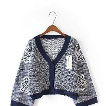 韓版正品小香風複古提花大V領短款針織衫開衫女黑色/深藍色/均碼