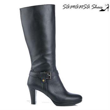 莎曼莎手工鞋【MIT全真皮】完美曲線質感甜美帥氣金屬扣環高跟長靴  #14909 簡約黑
