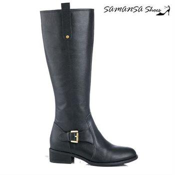 莎曼莎手工鞋【MIT全真皮】簡約俐落皮質拼接方釦平底長靴  #14908簡約黑