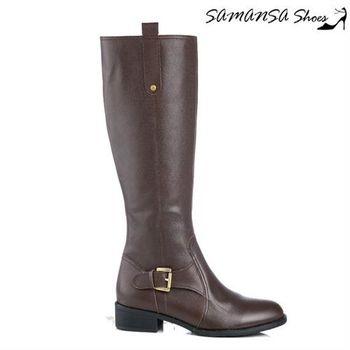 莎曼莎手工鞋【MIT全真皮】簡約俐落皮質拼接方釦平底長靴 #14908 深咖啡