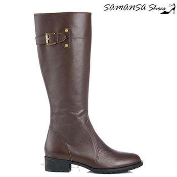 莎曼莎手工鞋【MIT全真皮】 極簡約側拉鍊造型綴環平底長靴 -14907 深咖啡