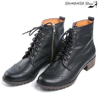 莎曼莎手工鞋【MIT全真皮】 街頭時尚側拉鍊綁帶馬汀靴 #14904-簡約黑