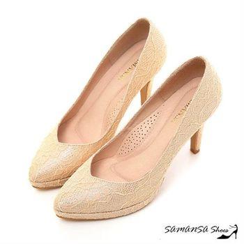 莎曼莎手工鞋【MIT溫暖手作】 Yes I Do-金蔥閃耀夢幻蕾絲幸福婚鞋 -15113金色年華