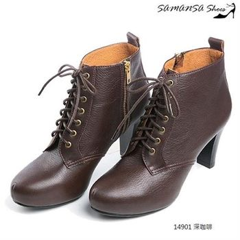 莎曼莎手工鞋【MIT全真皮】 率性時尚內增高綁帶高跟短靴- #14901--深咖啡